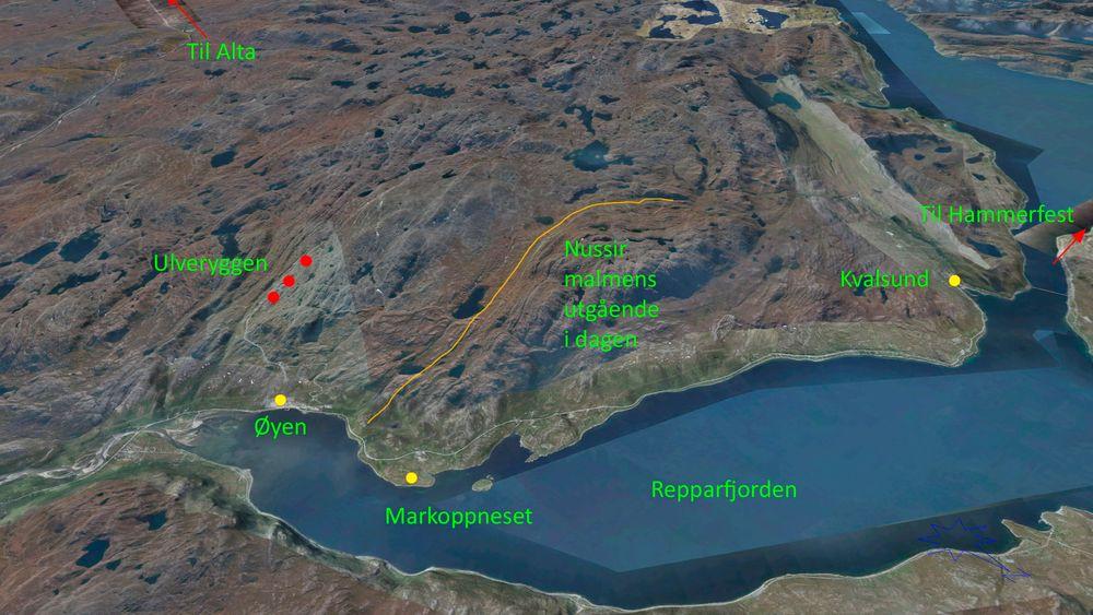 Oversikt: Her er malmens utløp i dagen plottet inn i landskapet som en oransje stripe. Tettstedet Kvalsund er merket med gult. Det er også det gamle gruveanlegget ved Øyen til Folldal Verk som ble lagt ned på 70-tallet, mens Markoppneset er en mulig plassering av gruvepåslag og oppredningsverk. De røde prikkene er gamle gruveanlegg.