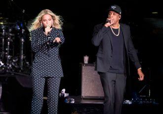 Beyoncé og Jay Z på scenen.