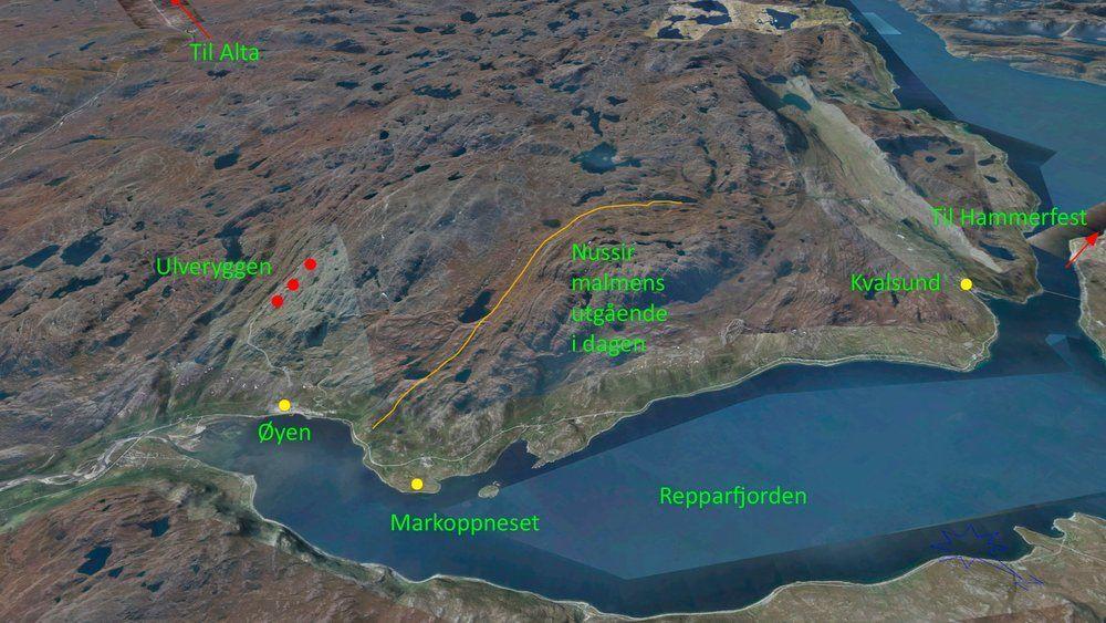 Her er malmens utløp i dagen plottet inn i landskapet som en oransje stripe. Tettstedet Kvalsund er merket med gult. Det er også det gamle gruveanlegget ved Øyen til Folldal Verk som ble lagt ned på 70-tallet, mens Markoppneset er en mulig plassering av gruvepåslag og oppredningsverk. De røde prikkene er gamle gruveanlegg.