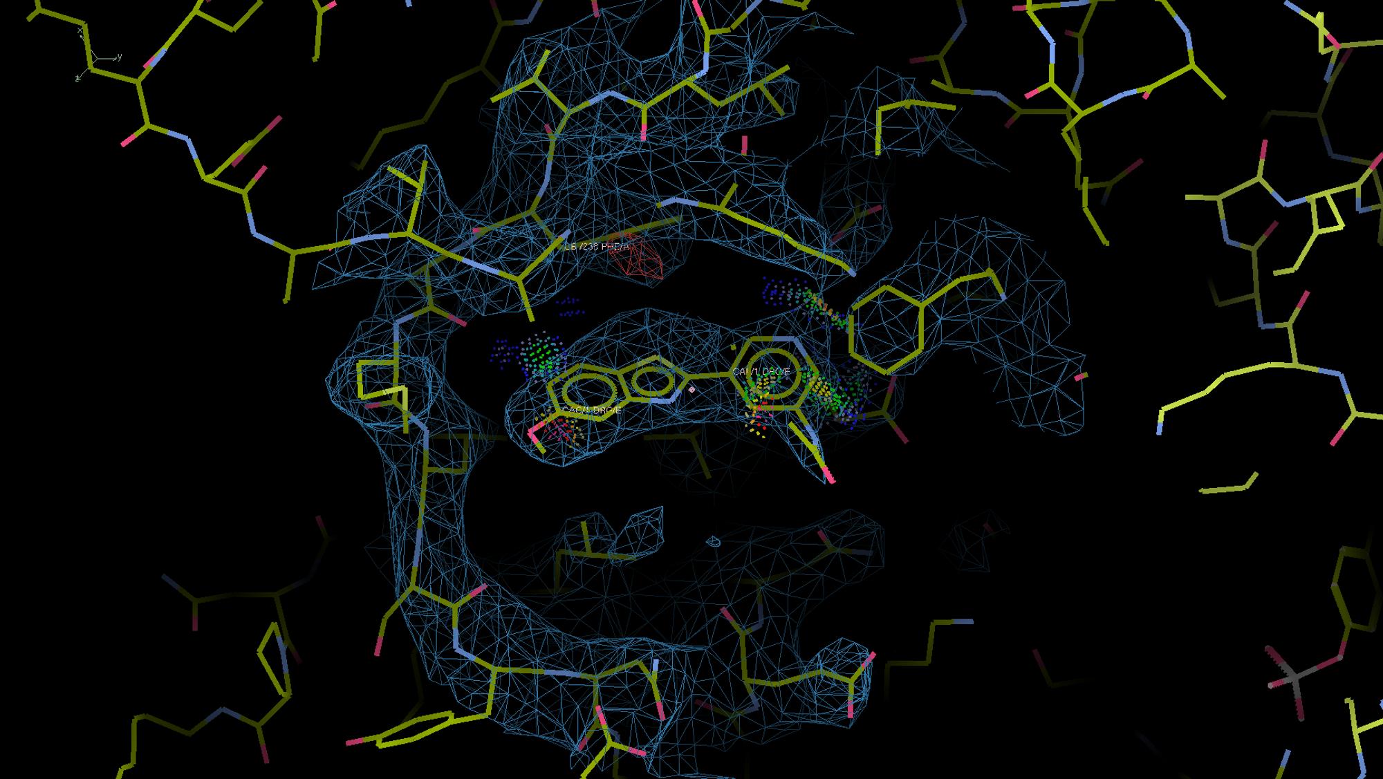 Pharmasum har funnet det de tror er det ideelle molekylet for å dempe dannelsen av et annet molekyl, fosforylert-tau og indirekte også amyloider i hjernen. Det er kjent at disse er en hovedårsak til utvikling av Alzheimer fordi de blokkerer vanlige nervefunksjoner. Molekylet de vil utvikle til en medisin skal passe inn i enzymet DYRK1A omtrent som en nøkkel passer inn i en lås.  Illustrasjonen er et dataplott av resultater fra røntgenkrystallografi utført på en røntgensynkrotron i Berlin. Den kan «se» atomære strukturer via spredningsmønsteret til laserlyset. Dermed kan man regne seg tilbake og finne hvordan molekylene som har gitt et slikt mønster må ha sett ut.