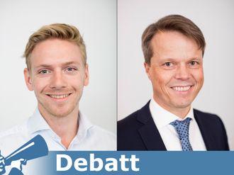 Martin Fauske Tho, forretningsrådgiver, og Ola Holm, leder for bank- og forsikringsrådgivning, begge i Sopra Steria.