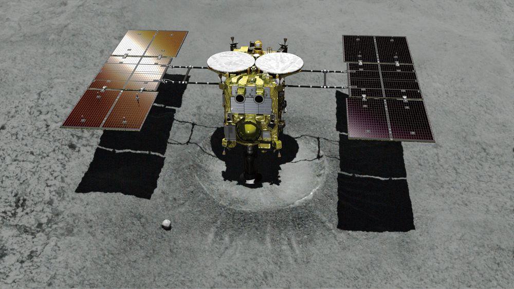 Japan Aerospace Exploration Agency (Jaxa) sin ubemannede romsonde Hayabusa2 på vei til asteroiden Ryugu. Hayabusa2 er nå 280 million kilometer fra Jorda.
