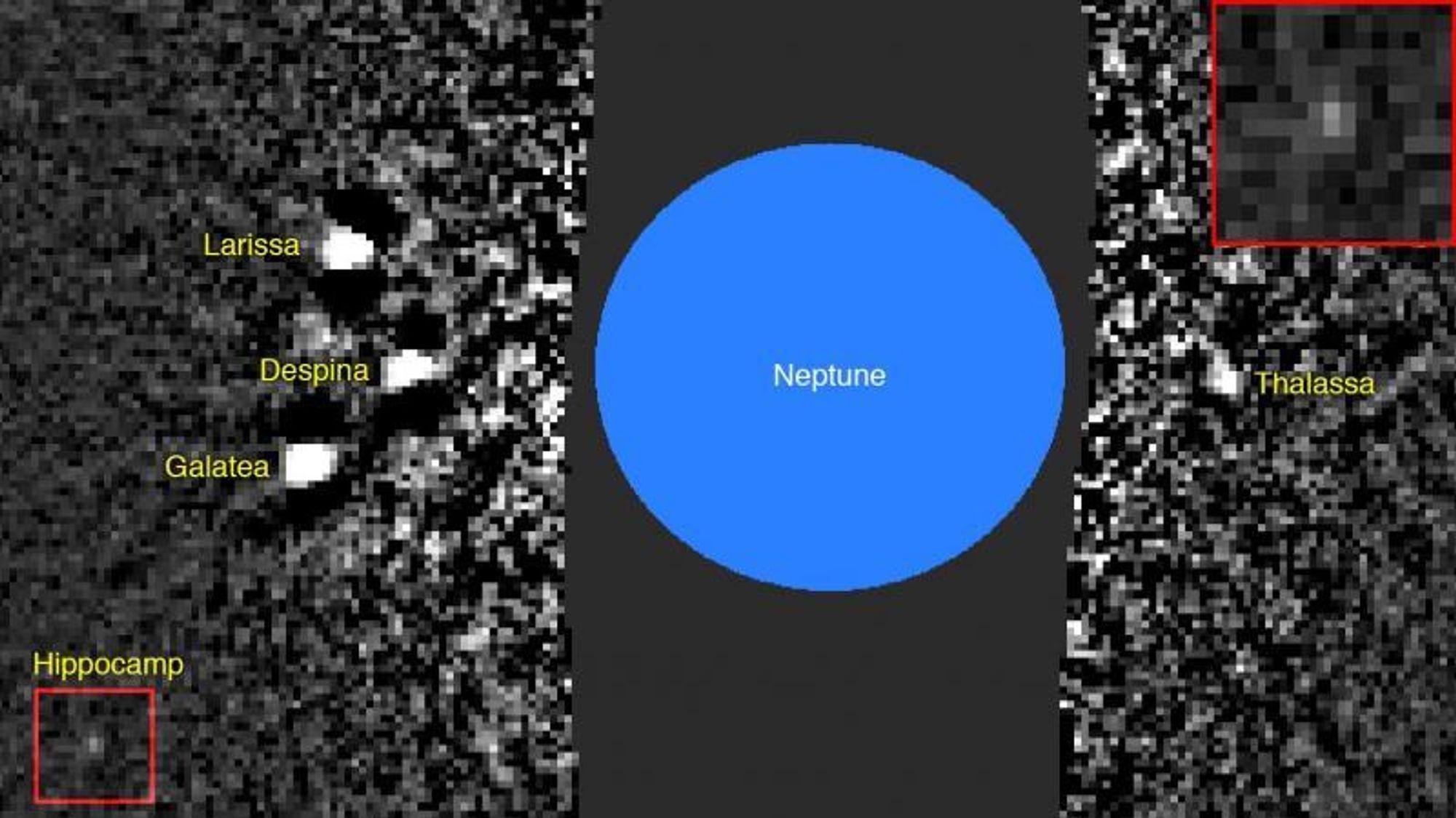 Oppdagelsen av Hippocamp, nederst til venstre, skjedde med dette bildet. Øverst til høyre ses en forstørrelse av det innrammede røde området.