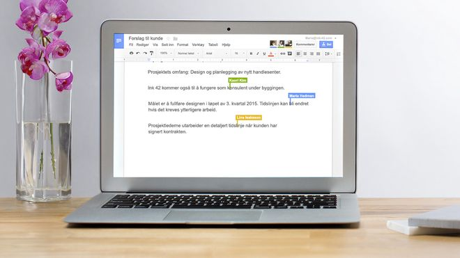 Google Docs på en pc.