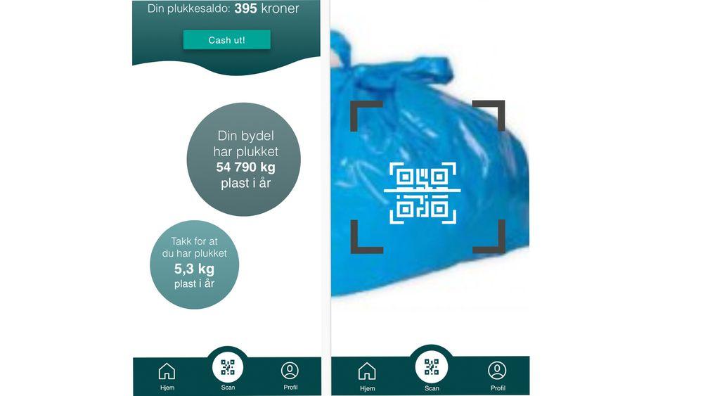 Bouvet har tenkt at appen skal fungere som følger: Du samler inn plast i en plastsekk med QR-kode generert av Plukk. Før du leverer sekken, scanner du QR-koden på posen med telefonen din. Da blir koden koblet til ditt navn i Plukk-databasen.