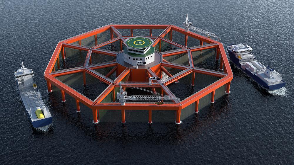 Salmar og Maricultures Smart Fish farm blir trolig det første oppdrettsanlegget som blir lagt til havs.