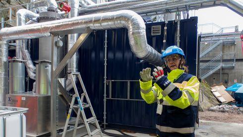 CO2-fangst: Dette pilotanlegget skal rense 930 kilo røykgass fra avfallsforbrenning i timen