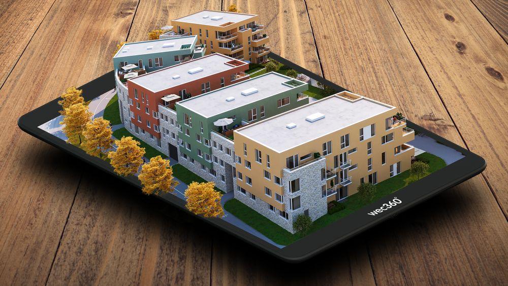 Kreativ, digital mockup som viser DNB Eiendoms boligprosjekt på Lade i Trondheim.
