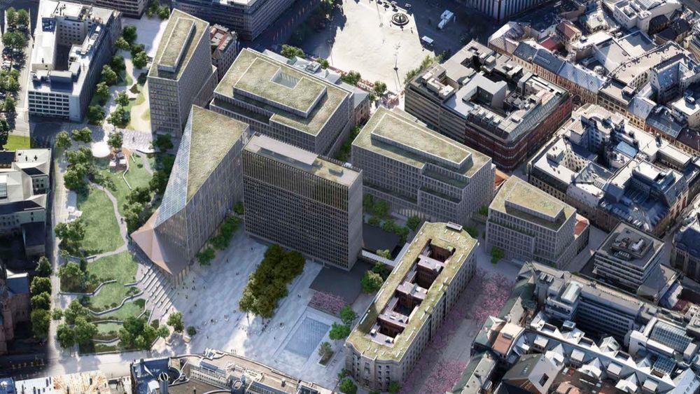 Slik vil det nye regjeringskvartalet se ut når det er ferdig bygget.