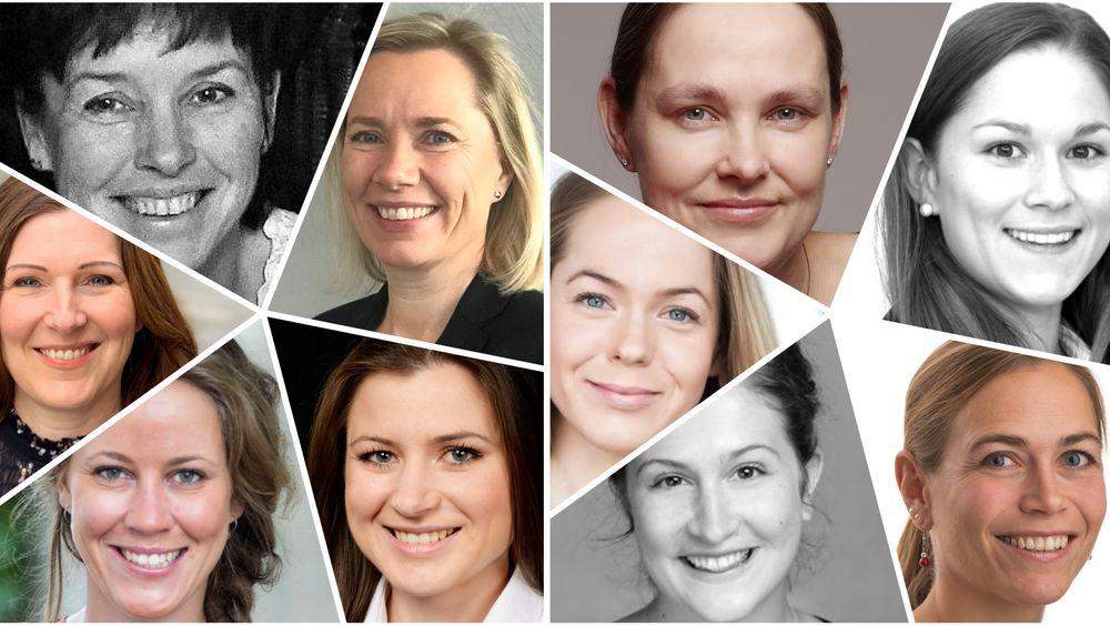 På venstre side, øverst fra venstre: Marianne Storsul, Mette Ahlquist, Elisabet Haugsbø, Merete Nygaard, Camilla Tepfers. På høyre side, øverst fra venstre: Camilla Tepfers, Marte Tårnes, Maria Bartnes, Lotte Skolem, Susanne Klungtveit.
