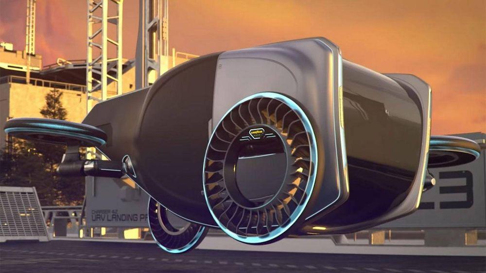 Slik ser Goodyear for seg flyvende bil med rotor i hjulene.