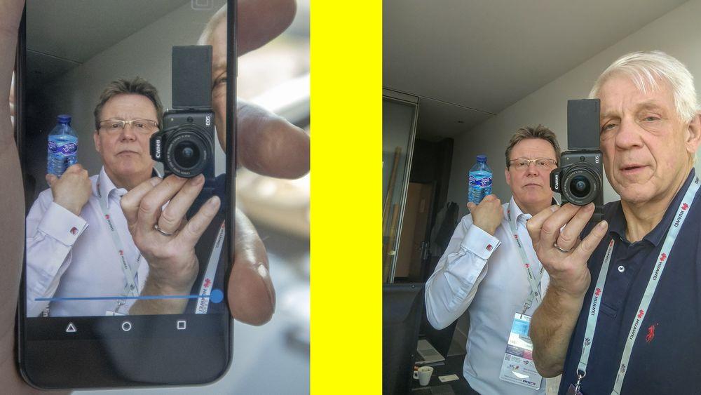 Et av triksene den norske polymerlinsen kan utføre er å ta mange bilder med ulike fokus i løpet av noen millisekunder. Det kan brukes til å flytte fokus etter at bildet er tatt, eller lage bilder hvor alt er i fokus.  Her tar vi bilde med en Googletelefon utstyrt med den norske linsen sammen med poLightsjef Øyvind Isaksen som står bak. Normalt skulle bare en del av bildet være i fokus, men her kan alt velges å være i fokus som vis på skjermkuttet til høyre.