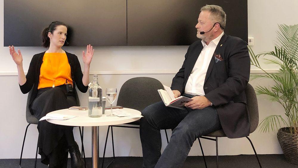GJEST PÅ 8. MARS: Marie Louise Sunde, her i samtalen med Jan Moberg i TU, som du kan høre dagens podcast.