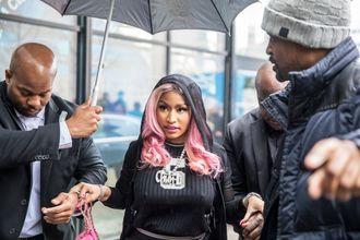 Tidal-medeier og superstjerne Nicki Minaj ankommer Tidals-kontorer i Lakkegata i Oslo tidligere i måneden.