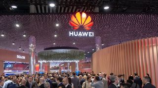 Huawei på messegulvet under MWC-messen i 2019.