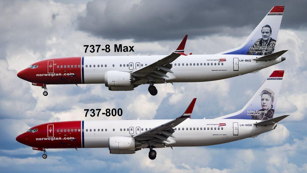 Fotomontasje som viser noen av de utvendige forskjellene mellom B737-8 Max og B737-800.