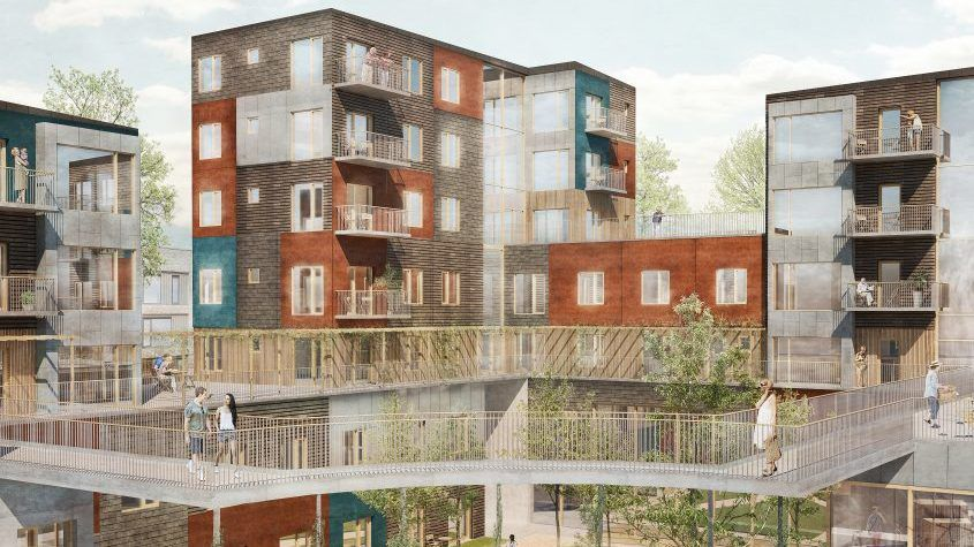 Det syv etasjer høye Fællesbyg Køge Kyst ville blitt Danmarks høyeste bygning med bærende konstruksjoner av tre. Søyler og bjelker skulle være i massivt tre, og etasjedekkene en kombinasjon av massivt tre og betong. Men de entreprenørene som byggefellesskapet har forhandlet med, ville ha 12–15 prosents risikotillegg på toppen av sitt ordinære tilbud for å bygge i tre, så nå blir alle de bærende konstruksjonene i stedet oppført i betong.