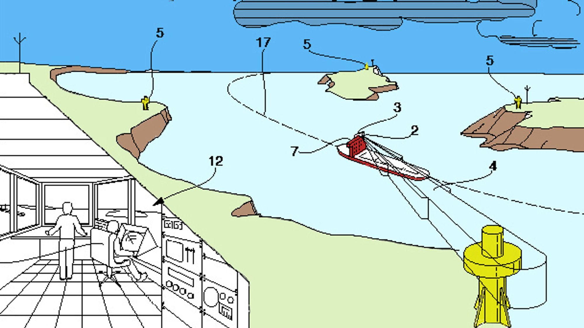 DSGS: Når skipet nærmer seg et sjømerke, blir lyssignal eller lydsignal forsterket slik at det ikke kan overses. Illustrasjon fra patentsøknaden.