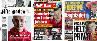 Montasje av papiravisene Aftenposten, VG og Dagbladet lørdag.