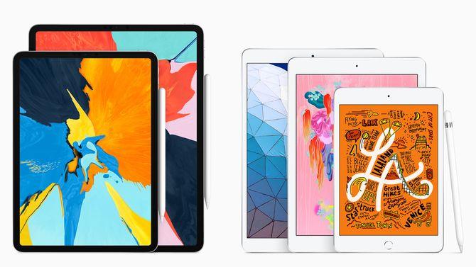 Apple har nå fem ulike nettbrett. Fra venstre: iPad Pro i to størrelser, iPad, iPad Air og iPad mini.