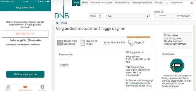 Innlogging i DNBs nettbank med en engangkode.