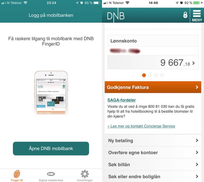 DNBs tidligere Finger ID-app for iOS.