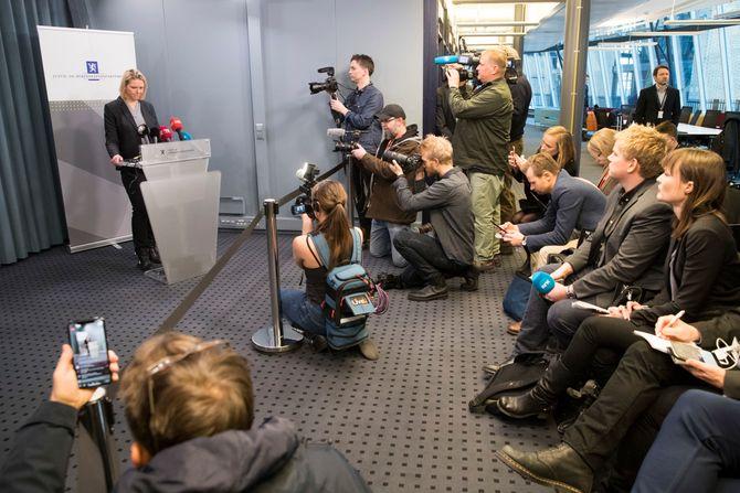 20. mars i 2018: Sylvi Listhaug (Frp) holder pressekonferanse i Justisdepartementets lokaler i Nydalen i Oslo i forbindelse med at hun trekker seg som justisminister tirsdag.