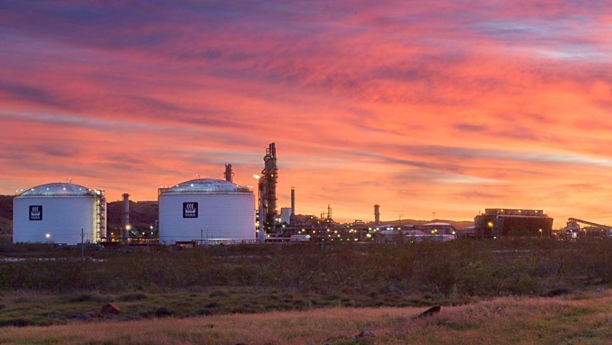 Yaras ammoniakkfabrikk i Pilbara, Australia. Årlig produksjon er 800.000 tonn NH3.