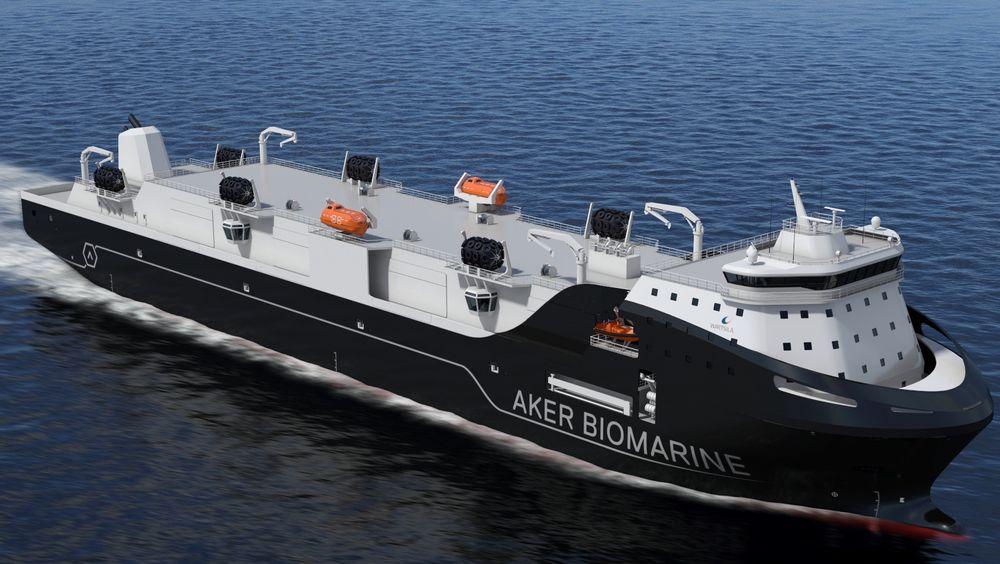 Aker Biomarines nye forsyningsskip skal støtte krilltrålerne i Sørishavet.
