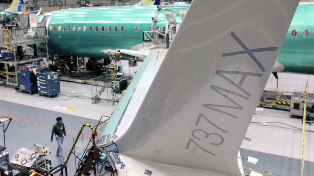 En Boeing 737 Max-vinge avbildet under en pressevisning i Boeing-fabrikken i Renton, Washington i 2015.