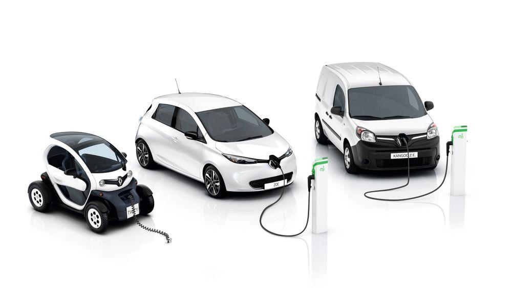 De er etter hvert gamle modeller, men fortsatt helt sentrale i Renaults elbilsatsing. Fra venstre: Twizy, Zoe og Kangoo.