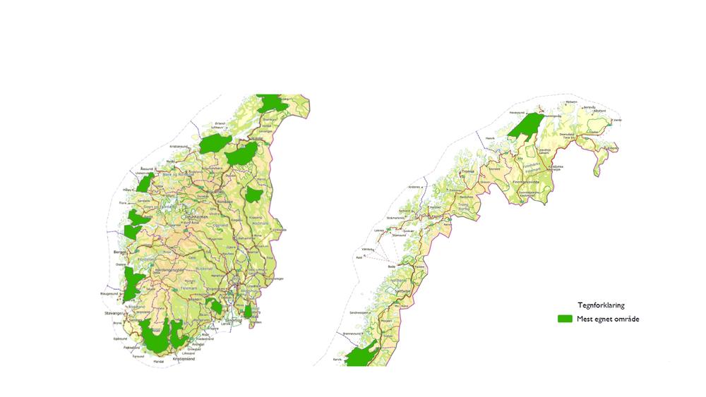 NVE har pekt ut 13 områder som er egnet for vindkraftutbygging.Områdene berører alle fylker med unntak av Oslo, Akershus, Oppland og Troms. Til tross for at mange arealer i Nord-Norge har de beste produksjonsforholdene for vindkraft, peker NVE ut flest områder i Sør-Norge.