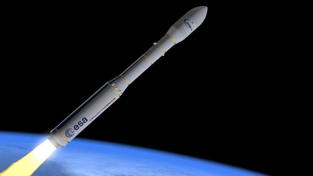 Slik skal etter planen den europeiske bæreraketten VEGA-E se ut når den frakter sine første satellitter i 2024.