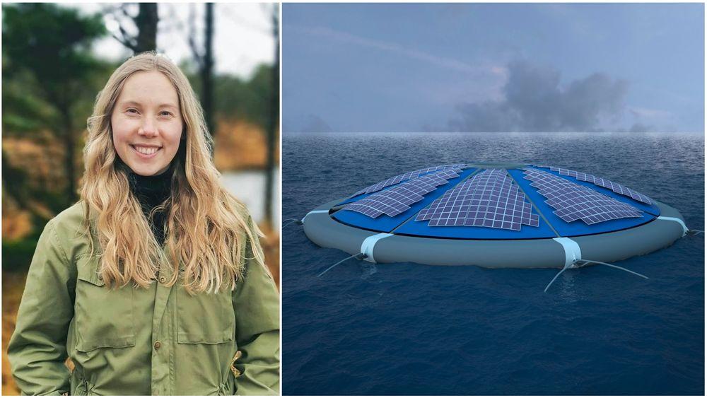 Karoline Sjøen (23) tar master i materialvitenskap for energi og nanoteknologi hos Unitech. Hun skal sørge for at solcellepanel til havs kan rense vekk salt og holde seg rene.