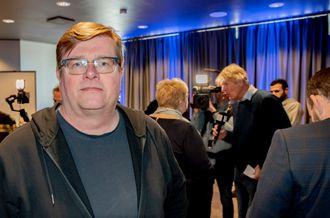 Leder Rolf Johansen i NRKJ. Her fra da regjeringen la fram sin mediestøttemelding.