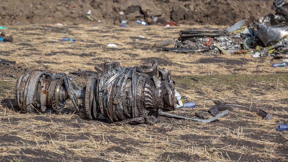 Vrakbiter av flyet som styrtet i Etiopia i forrige måned.