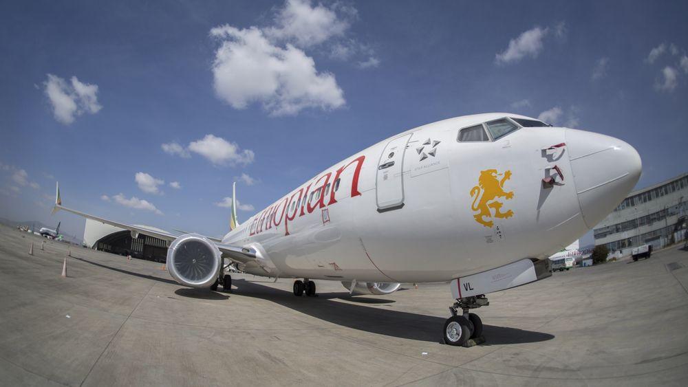 Et av Ethiopian Airlines' fire gjenværende B737 Max 8 på Bole lufthavn i Addis Ababa.