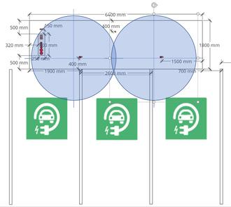 Skissen viser hvilken radius (i blått) CCS-ladekabelen har på en standard ladestasjon npr den er montert på venstre side av den aktuelle laderen.