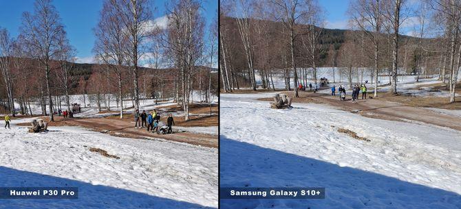 Her har vi tatt bilde av samme motiv med Huawei P30 Pro (til venstre) og Samsung Galaxy S10+, begge på auto og med deler av motivet i skygge.