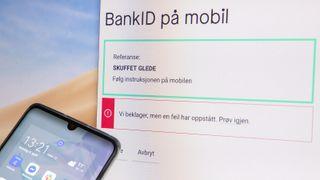 """Skjermbilde av innlogging med BankID for mobil, referanseord er """"skuffet glede""""."""