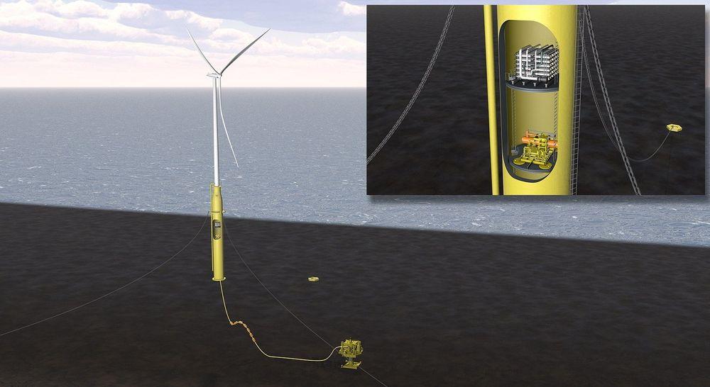 Kraft fra flytende havvind kan brukes til å øke oljeutvinningen i oljebrønner, mener DNV GL.