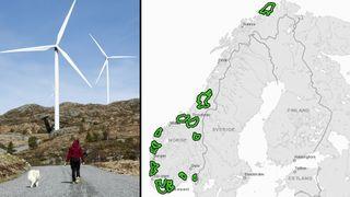 Norges nye vindkraftområder: Her er kriteriene som skilte de 13 nye områdene fra resten