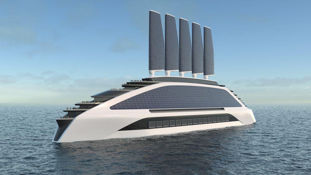 Mulig konsept for nullutslipps cruiseskip med solceller, vind og brenselceller som bruker hydrogen.