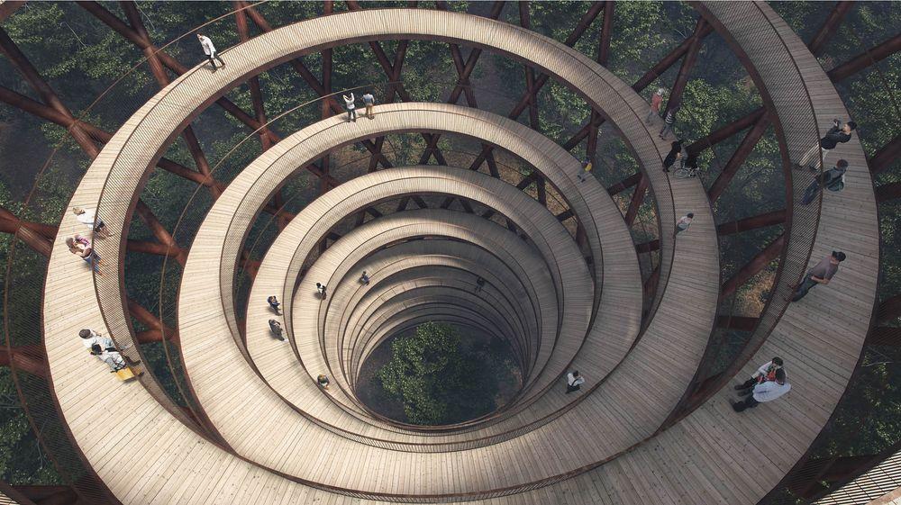 Slik designet de et 45 meter høyt utsiktstårn med 900 meter sti mellom trærne