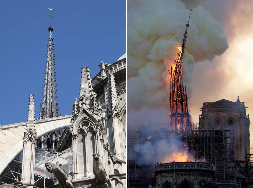 Trestrukturen som bar taket skal ha blitt ødelagt i brannen, før spiret falt.