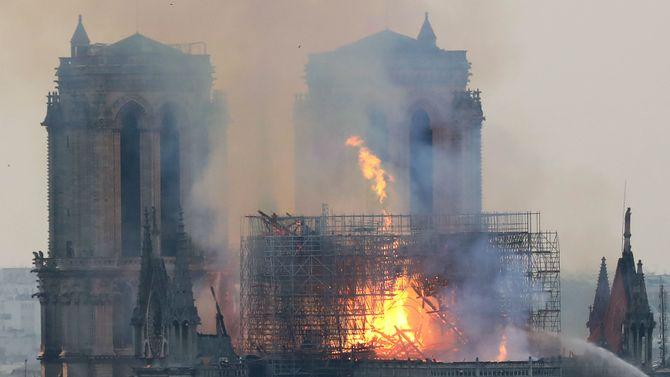Røyk og flammer stiger opp fra brannen i Notre-Dame-katedralen i Paris den 15. april 2019.
