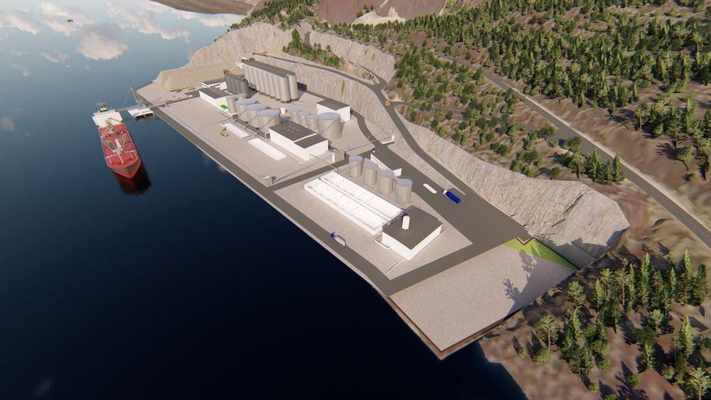 Raudsand: Massene fra utsprengning  av de to første lagerhallene vil benyttes til å anlegge kaianlegg og plass til renseanlegget.