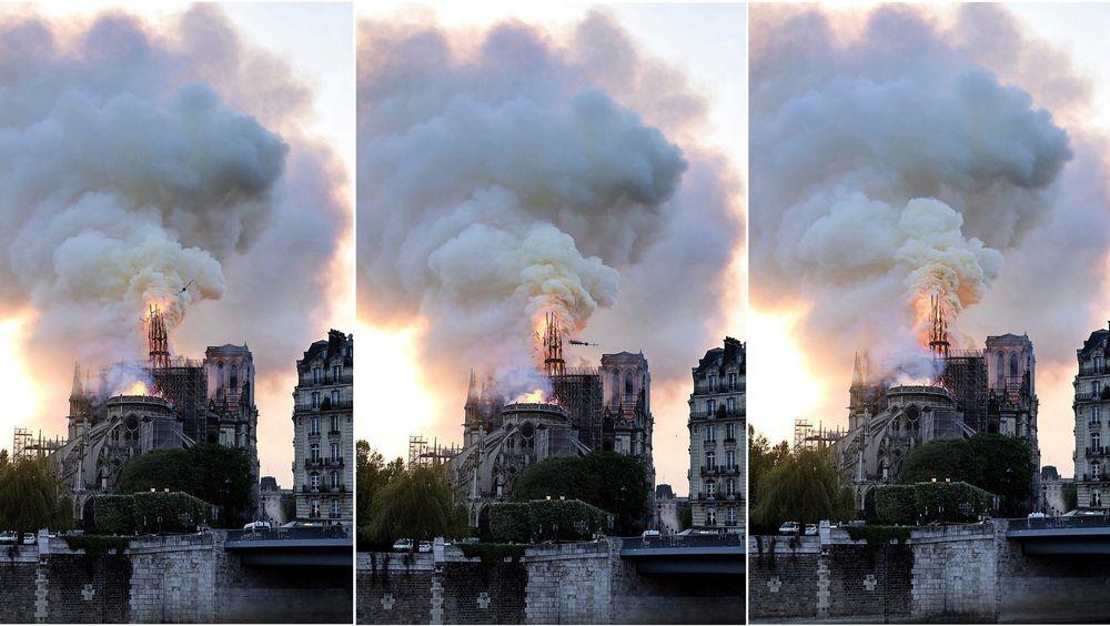 Bildeserien viser spiret på Notre-Dame-katedralen kollapse i mandagens brann.
