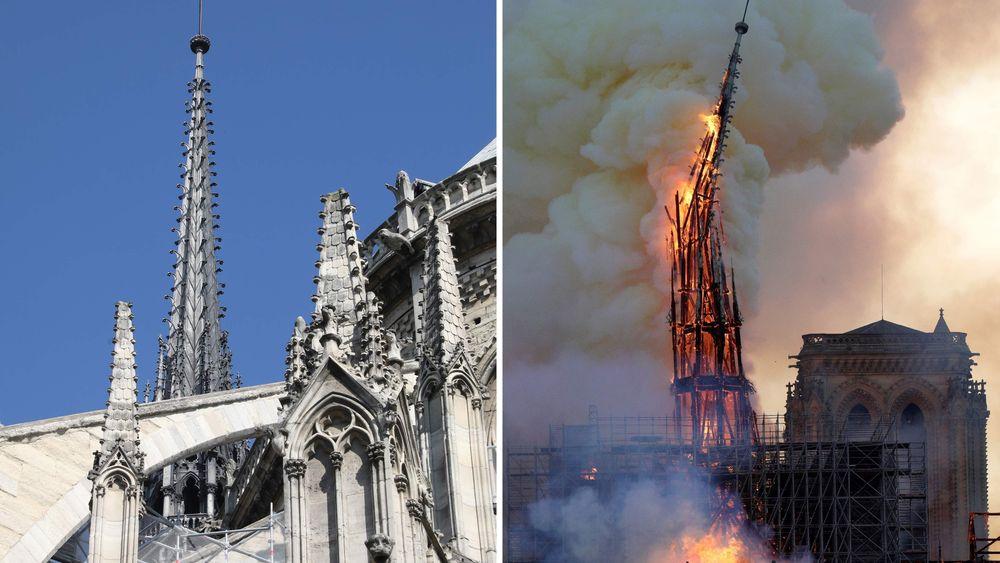 Hovedspiret på Notre-Dame, slik det var og slik det brant mandag kveld.