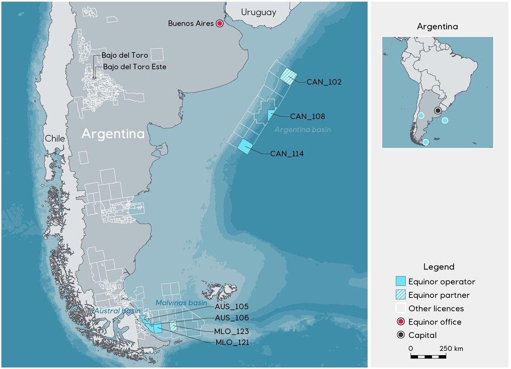 Equinor vinner syv leteblokker i Argentina.